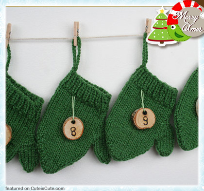 Christmas advent calendar with hand knitted mittens