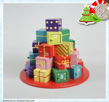 Wood advent calendar with little boxes stacked