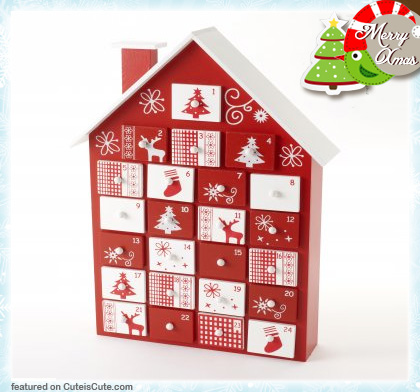 Wood advent calendar house