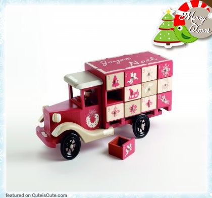 Painted wooden truck advent calendar