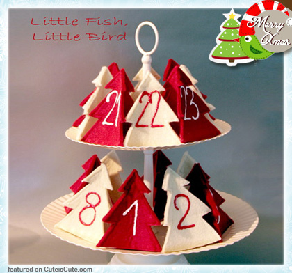 Advent calendar with felt red and white christmas trees