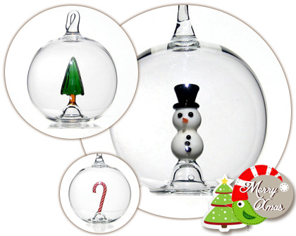 Cute blown glass Christmas ornaments