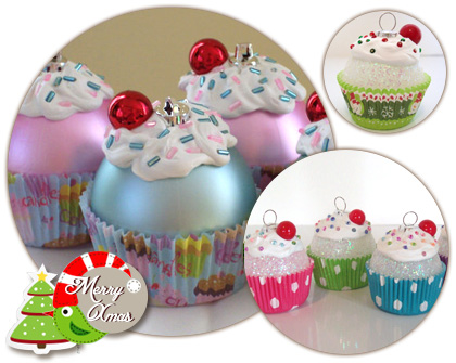 Cute cupcake Christmas ornaments