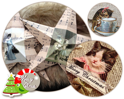 Cute cat paper Christmas ornaments