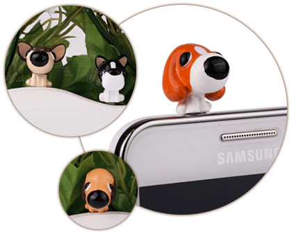 Cute dog earphone jack plug