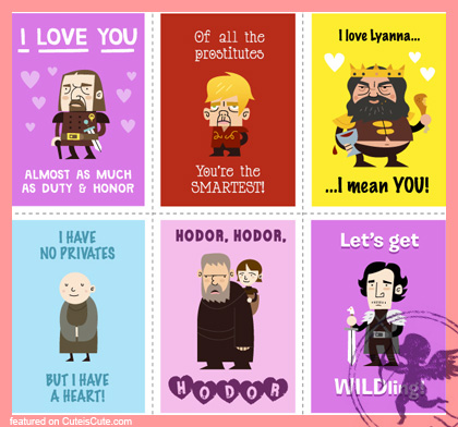 Funny game of Thrones Valentine's day cards