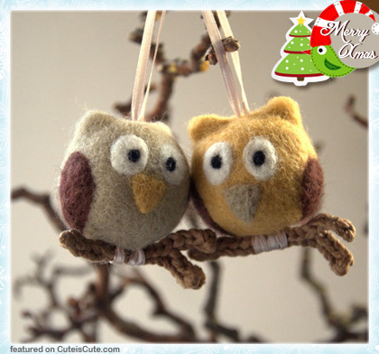 Cute owl Christmas ornaments