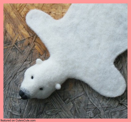 needle felted wool bear skin