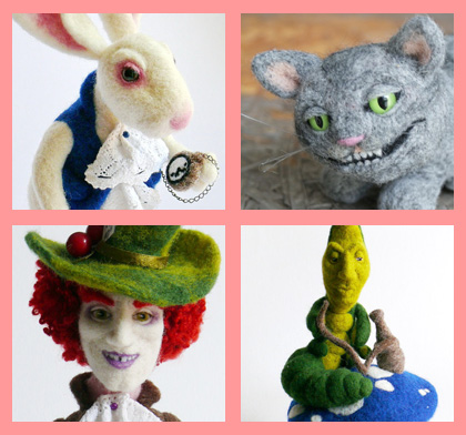 needle felted wool Wonderland characters