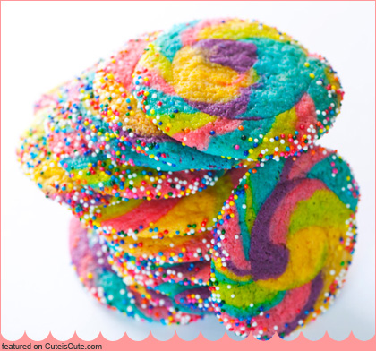 ... to get the recipe for these super bling-y rainbow pinwheel cookies