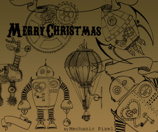 Cute hand-drawn Steampunk Christmas brushes
